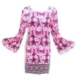 Bold Print Sheath Dress Flared Sleeves Pink Black
